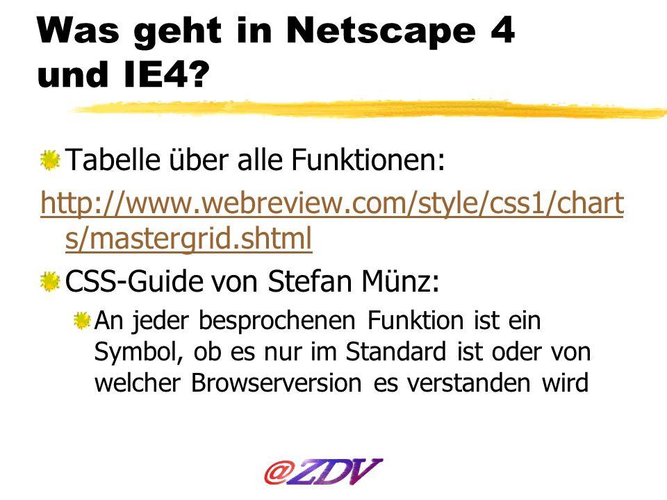 Was geht in Netscape 4 und IE4
