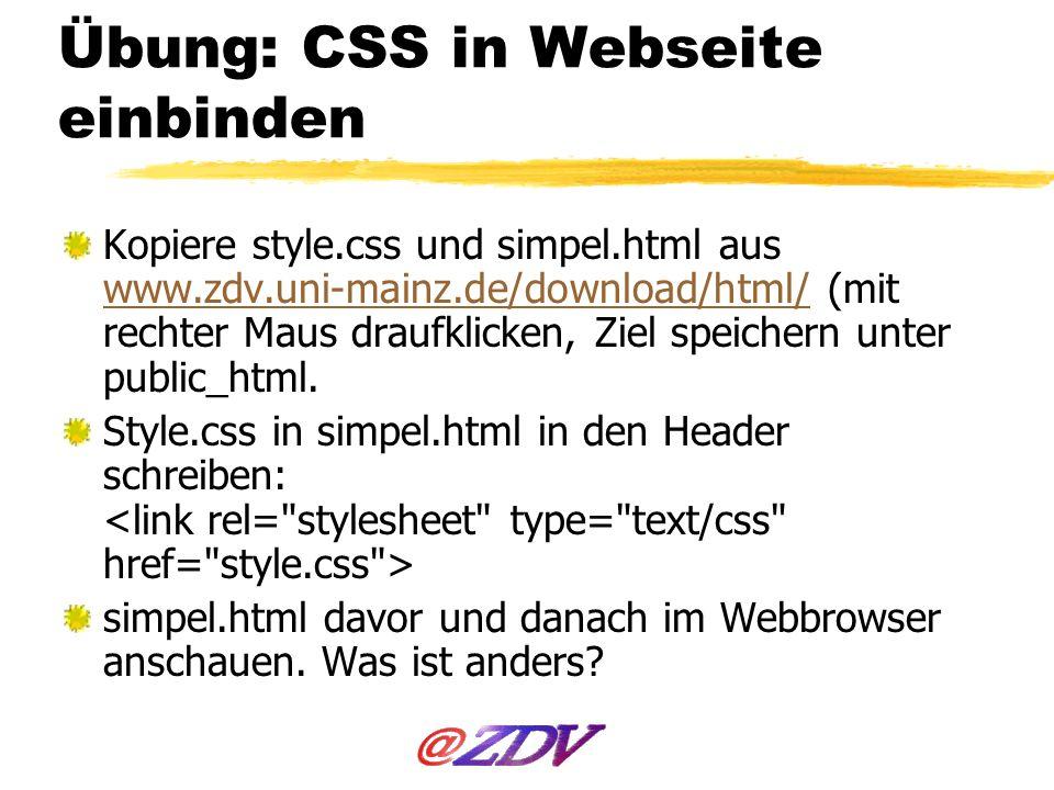 Übung: CSS in Webseite einbinden