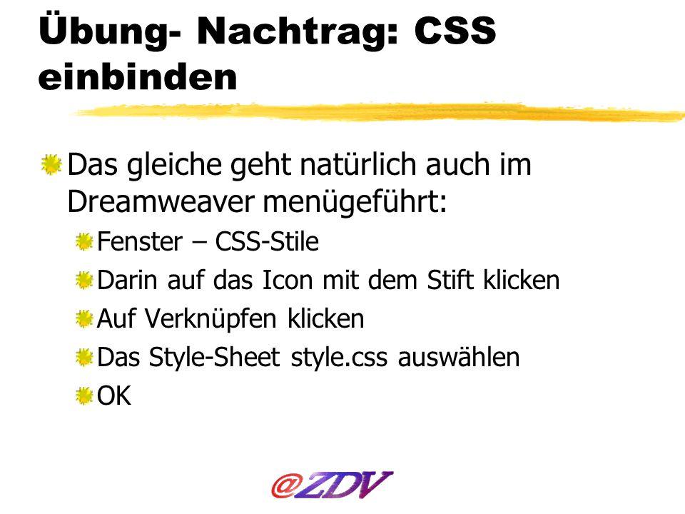 Übung- Nachtrag: CSS einbinden