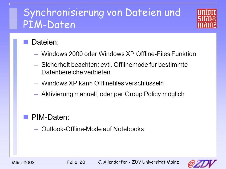 Synchronisierung von Dateien und PIM-Daten