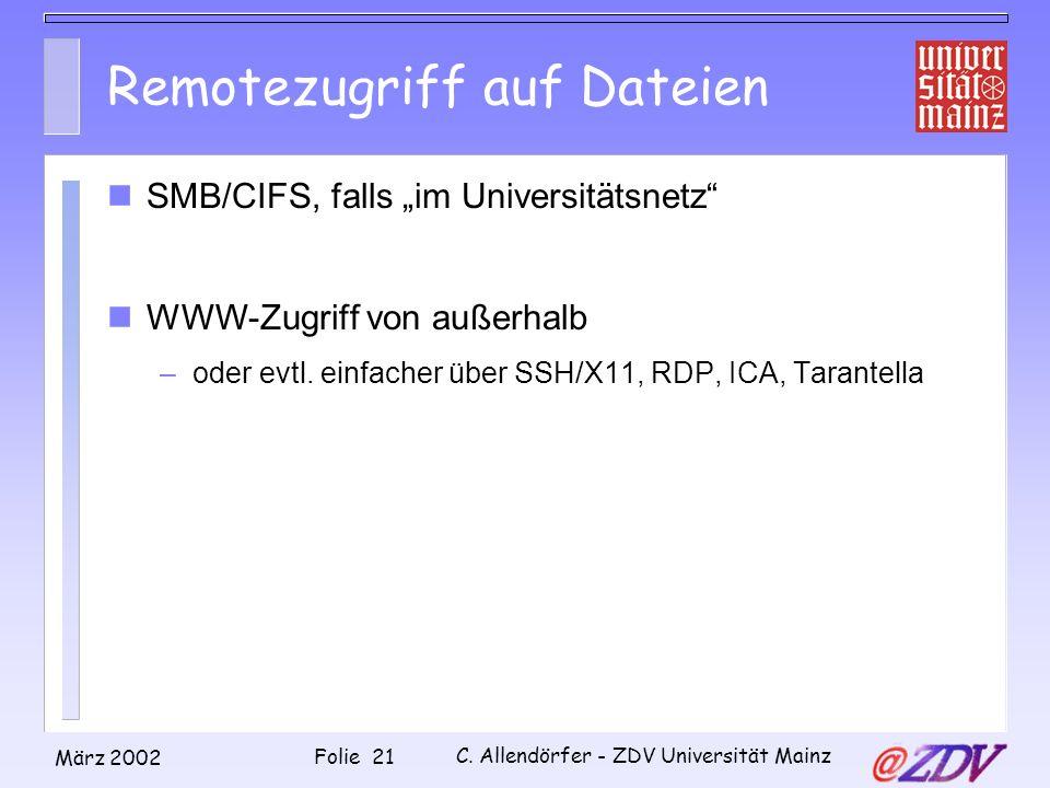Remotezugriff auf Dateien