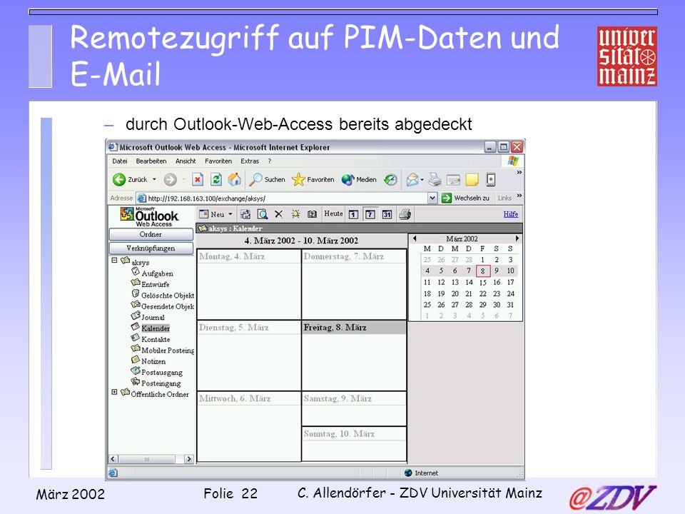 Remotezugriff auf PIM-Daten und E-Mail