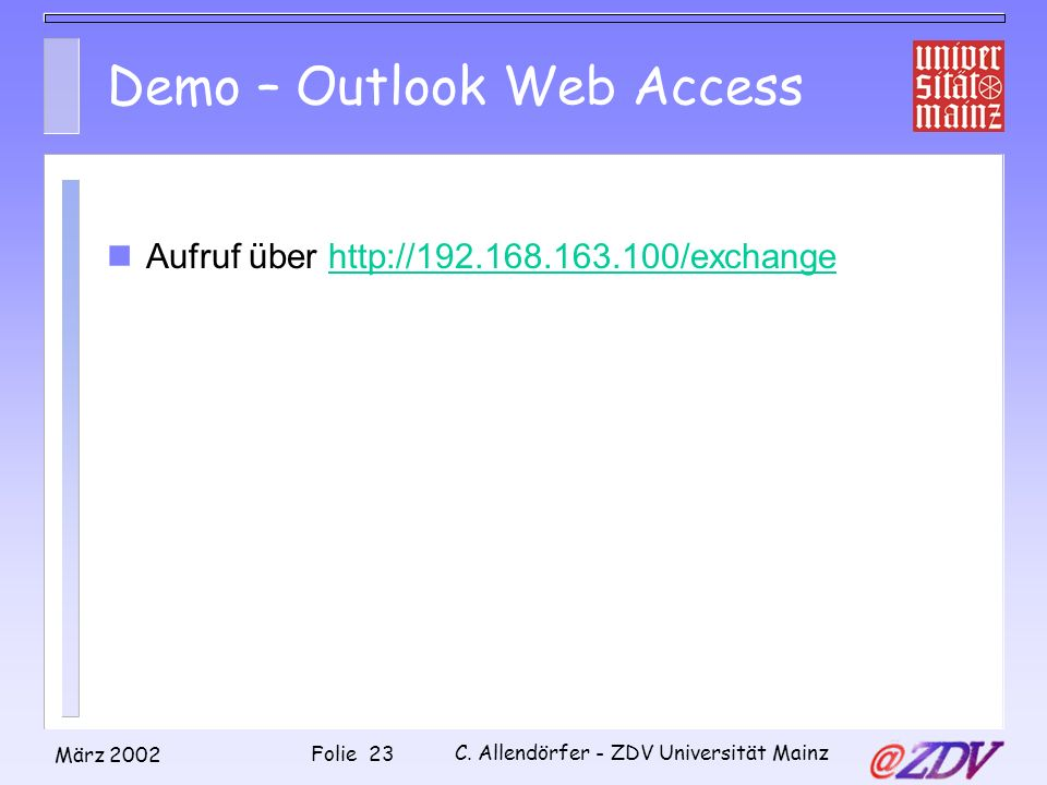 Demo – Outlook Web Access