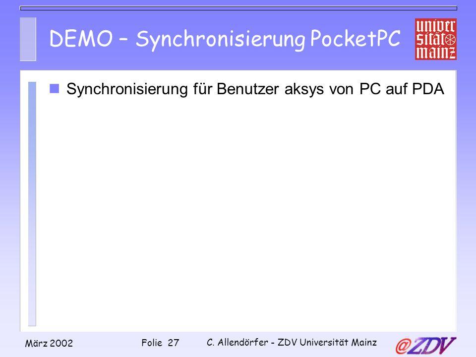 DEMO – Synchronisierung PocketPC