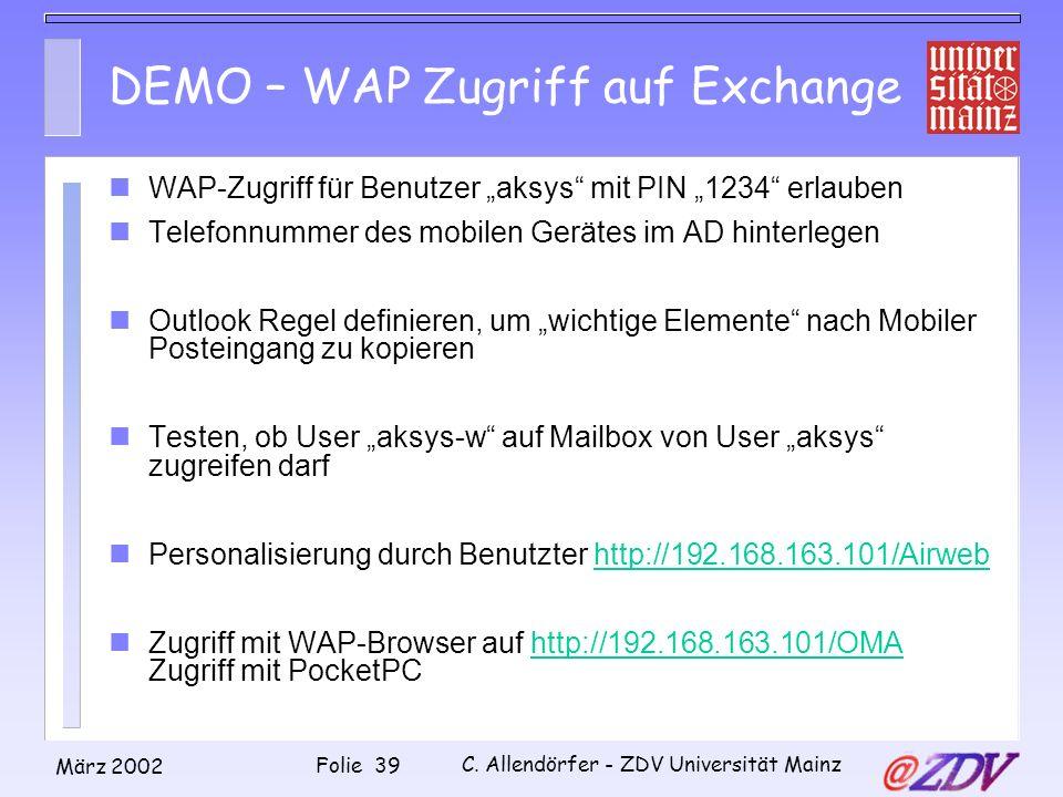 DEMO – WAP Zugriff auf Exchange