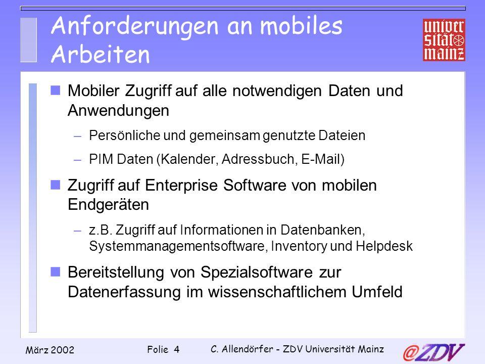 Anforderungen an mobiles Arbeiten