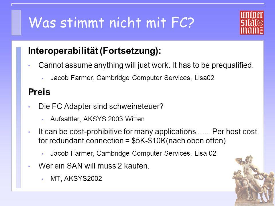 Was stimmt nicht mit FC Interoperabilität (Fortsetzung): Preis