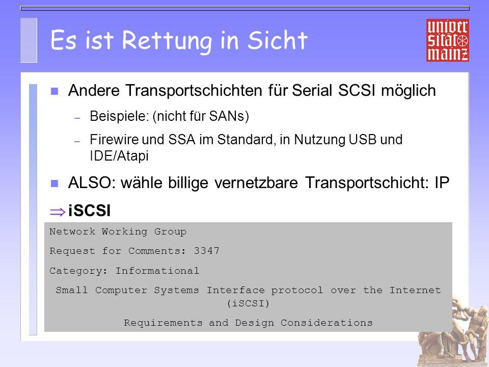 Es ist Rettung in Sicht Andere Transportschichten für Serial SCSI möglich. Beispiele: (nicht für SANs)