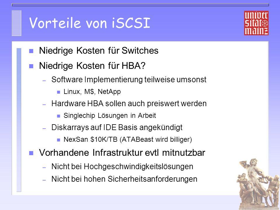 Vorteile von iSCSI Niedrige Kosten für Switches