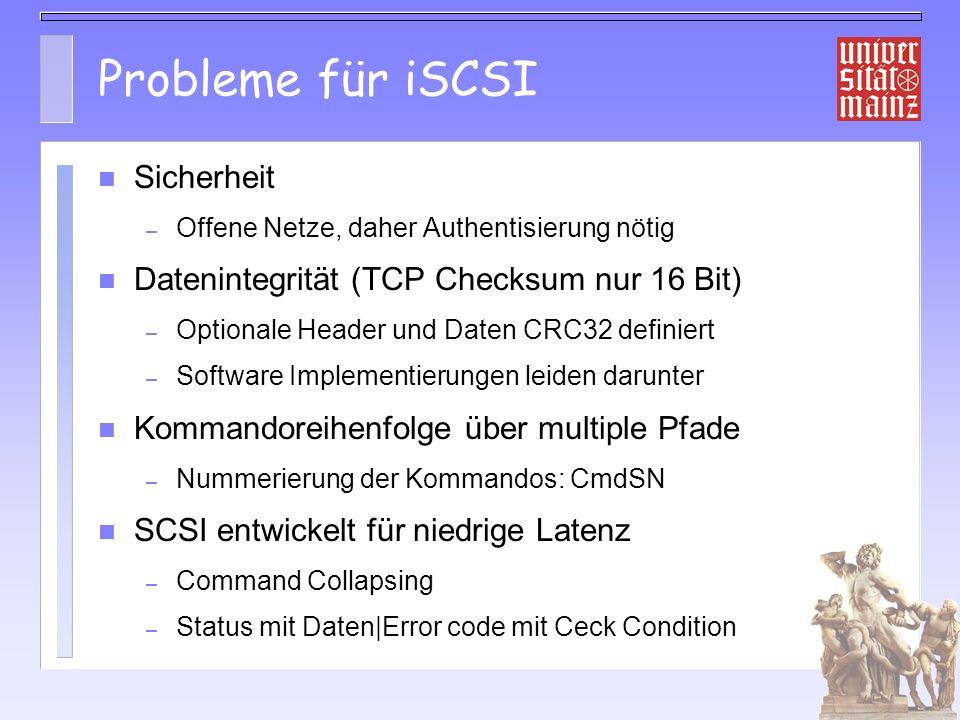 Probleme für iSCSI Sicherheit