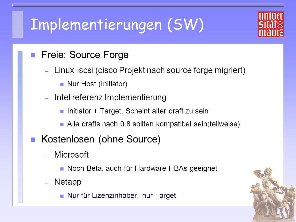 Implementierungen (SW)