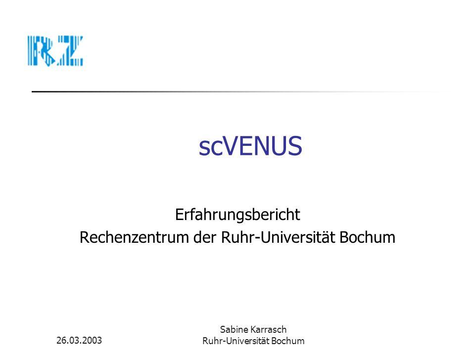 Erfahrungsbericht Rechenzentrum der Ruhr-Universität Bochum