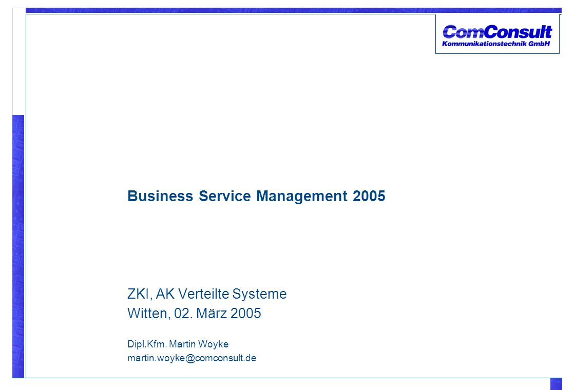 Business Service Management 2005