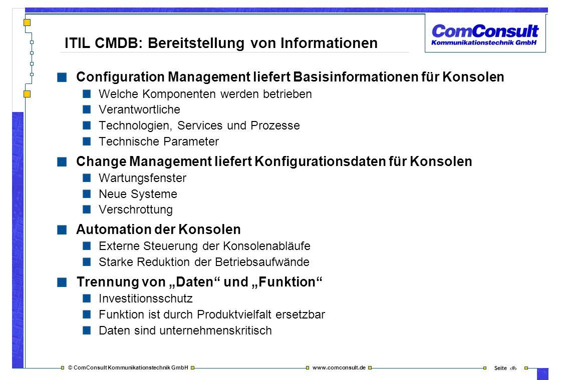 ITIL CMDB: Bereitstellung von Informationen