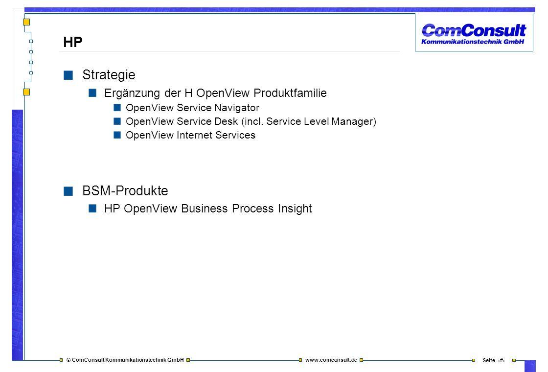 HP Strategie BSM-Produkte Ergänzung der H OpenView Produktfamilie