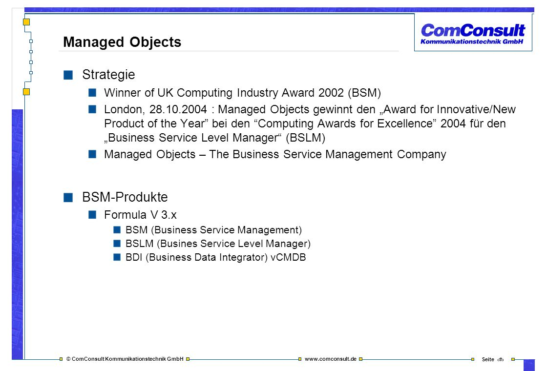 Managed Objects Strategie BSM-Produkte