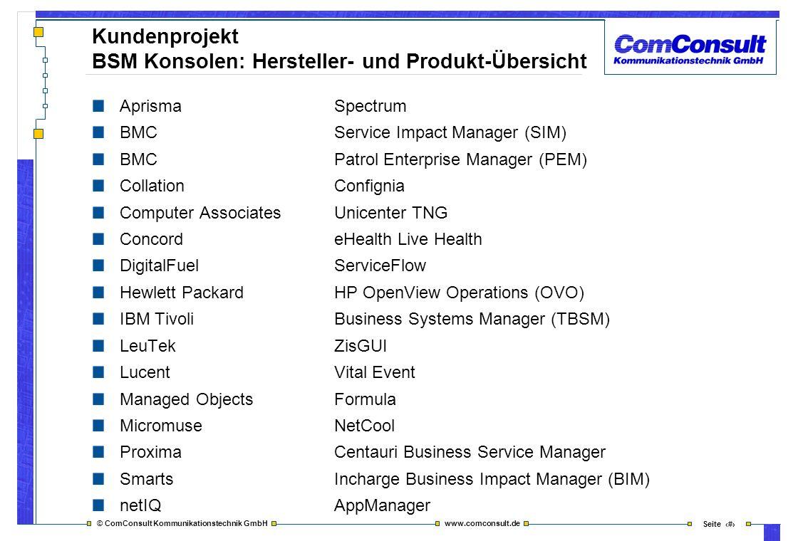 Kundenprojekt BSM Konsolen: Hersteller- und Produkt-Übersicht