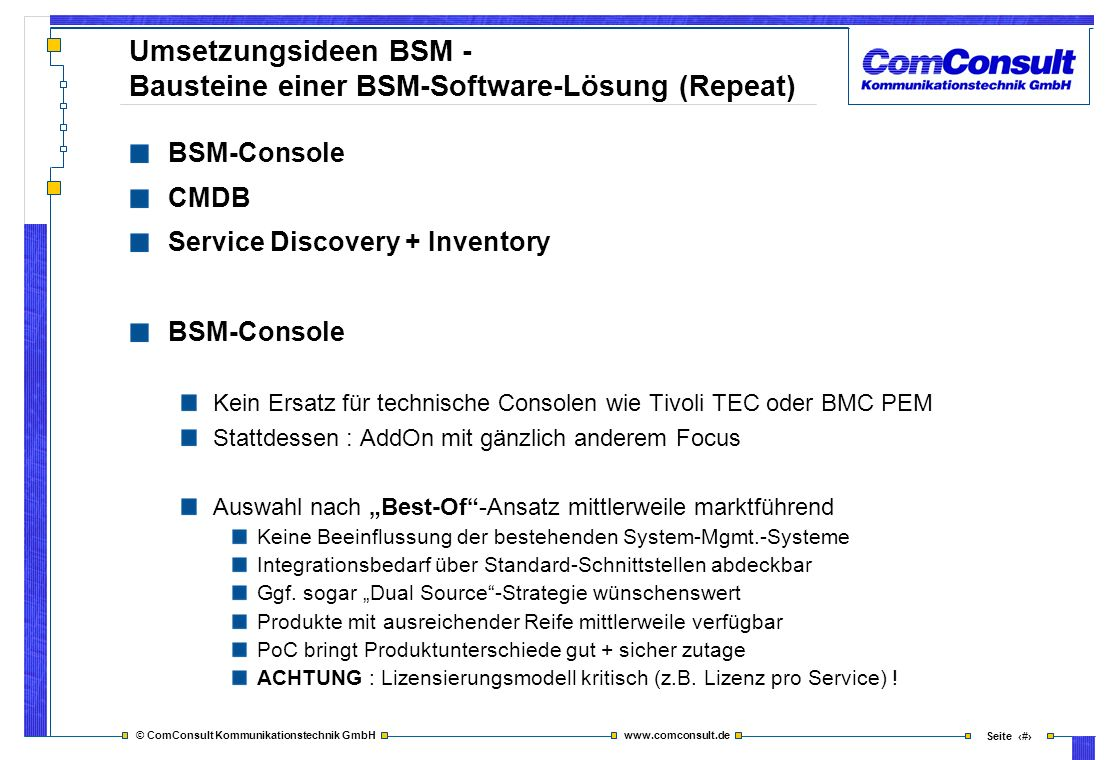 Umsetzungsideen BSM - Bausteine einer BSM-Software-Lösung (Repeat)