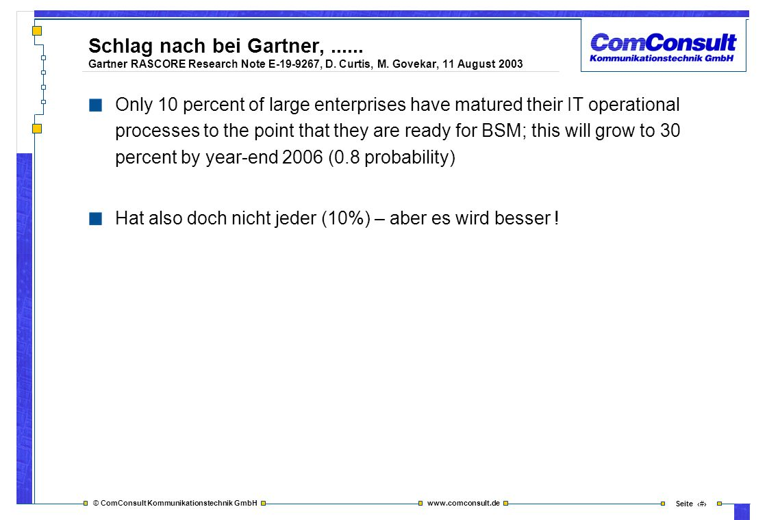 Schlag nach bei Gartner,. Gartner RASCORE Research Note E-19-9267, D