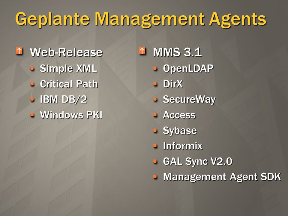 Geplante Management Agents