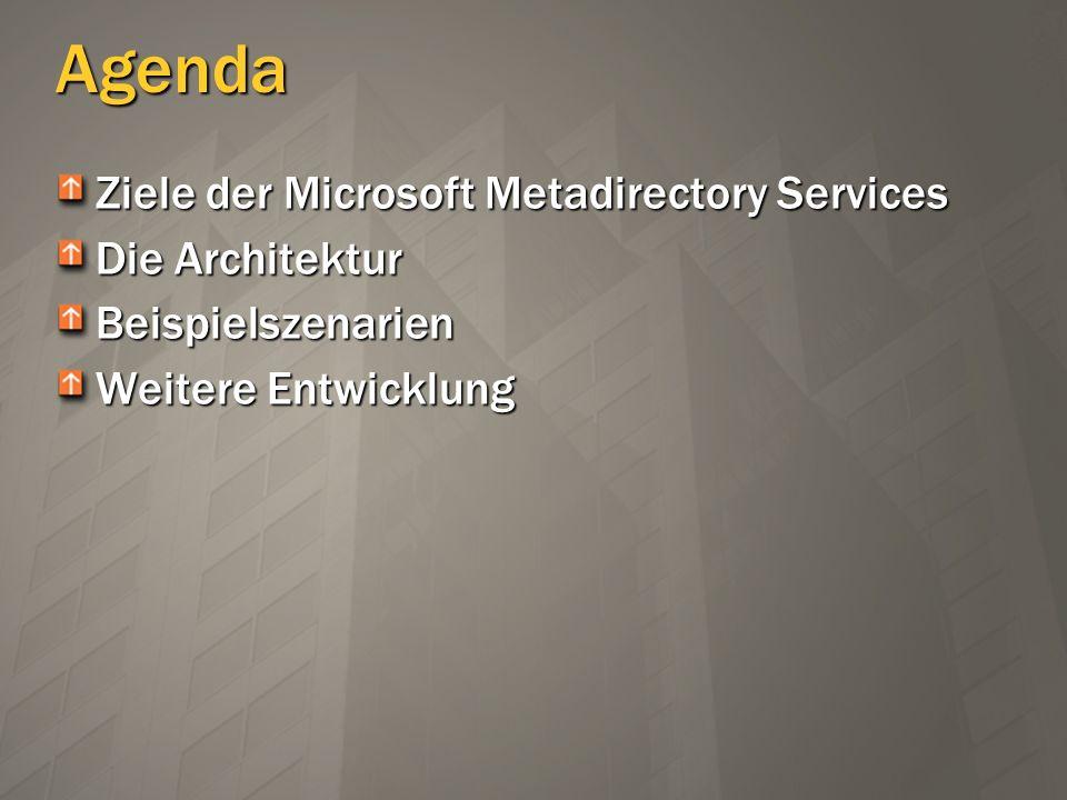 Agenda Ziele der Microsoft Metadirectory Services Die Architektur