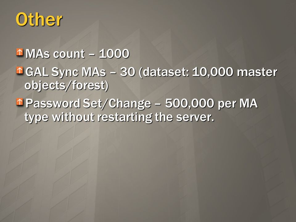 Other MAs count – 1000. GAL Sync MAs – 30 (dataset: 10,000 master objects/forest)