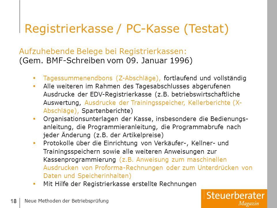 Registrierkasse / PC-Kasse (Testat)
