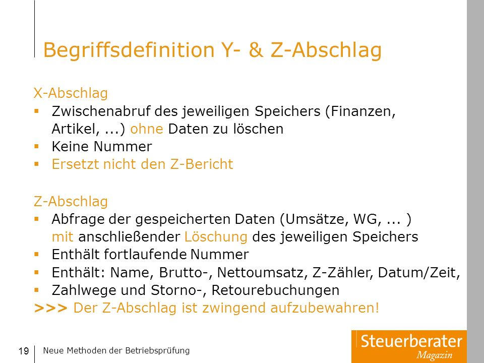Begriffsdefinition Y- & Z-Abschlag