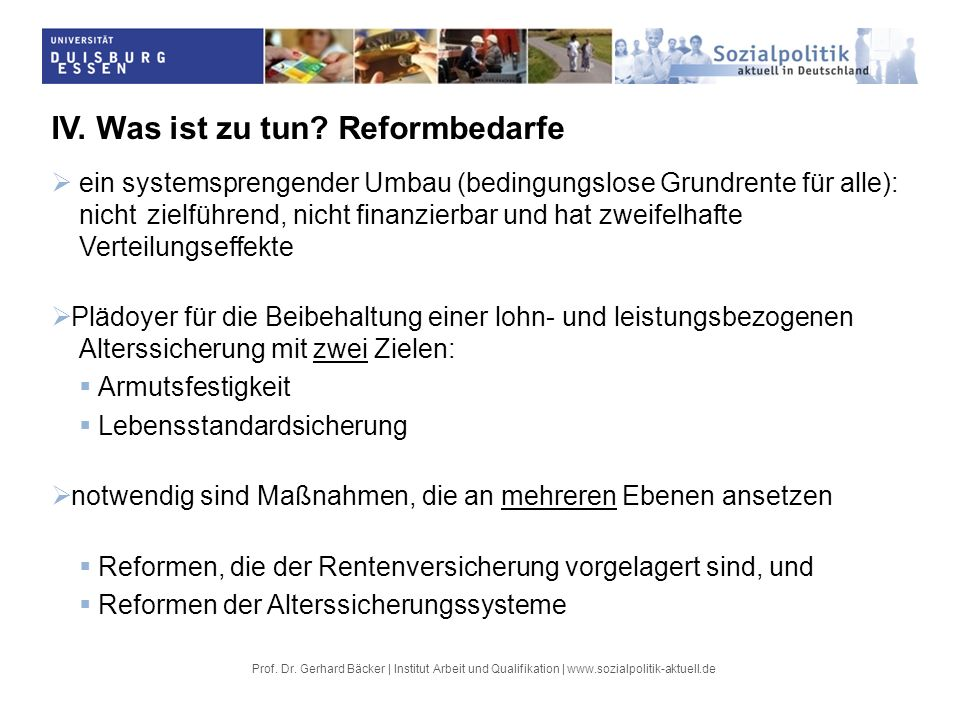 IV. Was ist zu tun Reformbedarfe