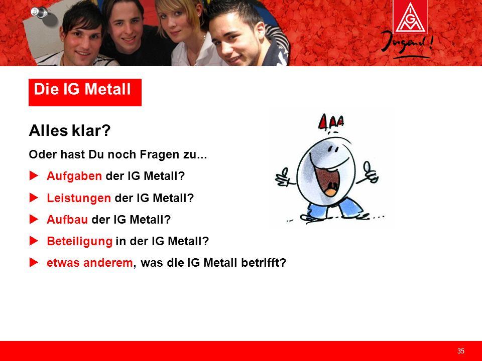 Die IG Metall Alles klar Oder hast Du noch Fragen zu...