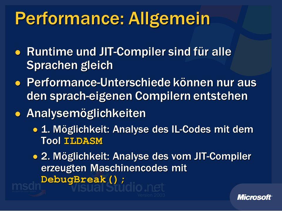 Performance: Allgemein
