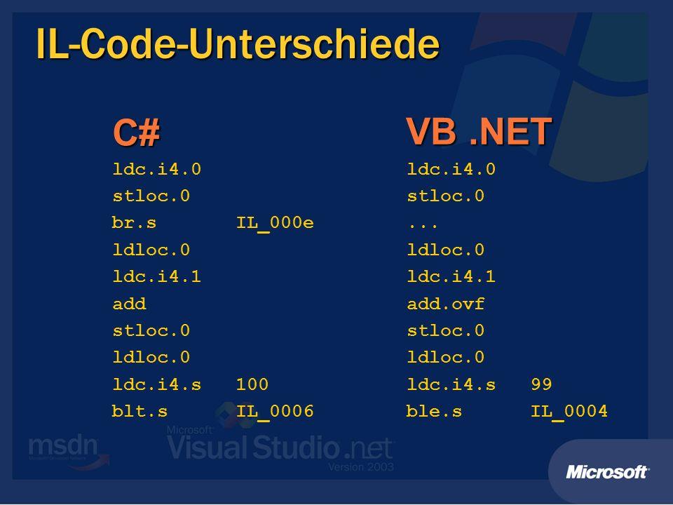 IL-Code-Unterschiede