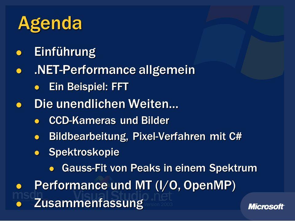 Agenda Einführung .NET-Performance allgemein Die unendlichen Weiten…