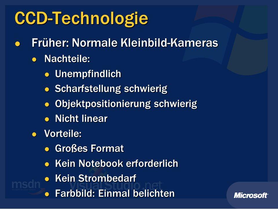 CCD-Technologie Früher: Normale Kleinbild-Kameras Nachteile: