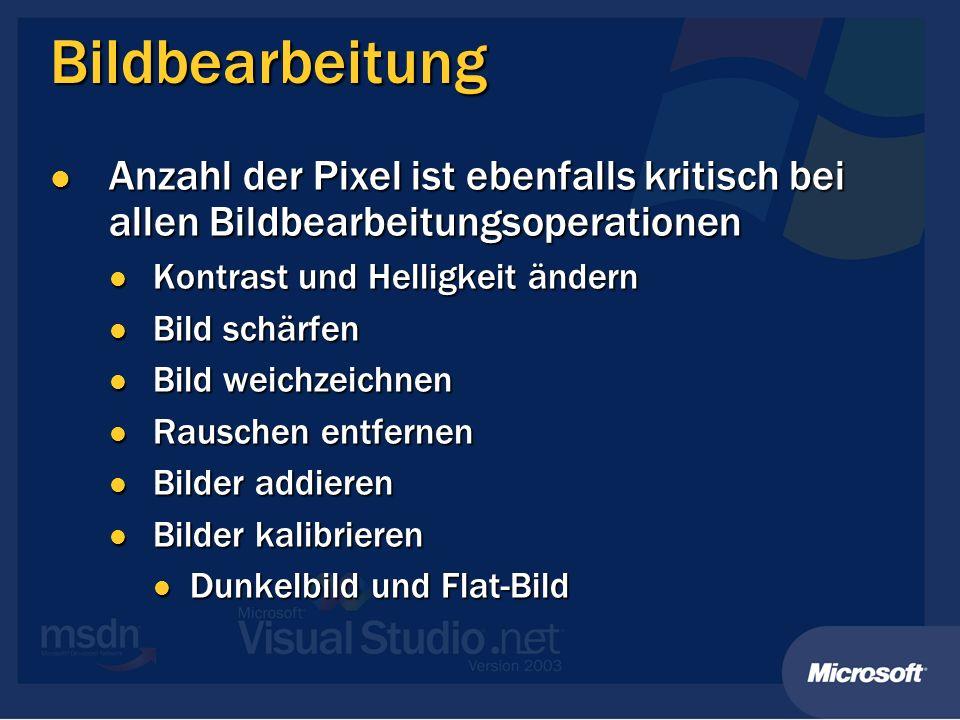 Bildbearbeitung Anzahl der Pixel ist ebenfalls kritisch bei allen Bildbearbeitungsoperationen. Kontrast und Helligkeit ändern.