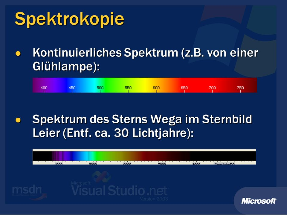 Spektrokopie Kontinuierliches Spektrum (z.B. von einer Glühlampe):