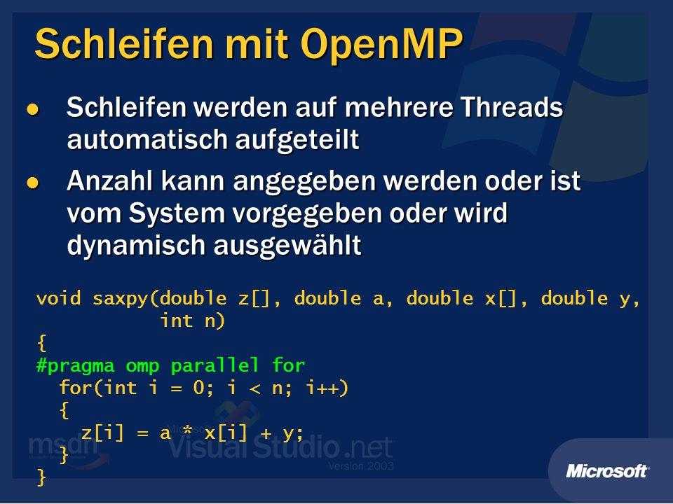 Schleifen mit OpenMP Schleifen werden auf mehrere Threads automatisch aufgeteilt.
