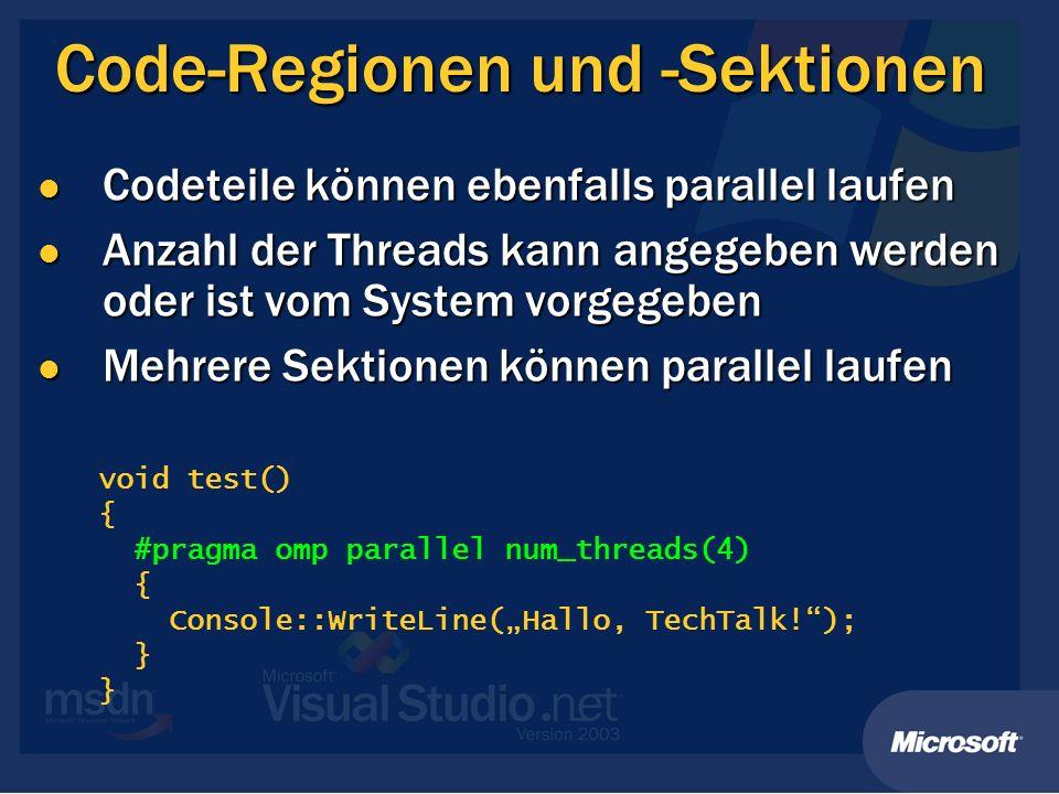 Code-Regionen und -Sektionen