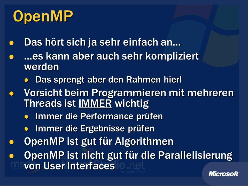 OpenMP Das hört sich ja sehr einfach an…