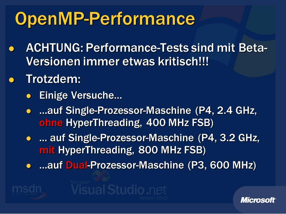 OpenMP-Performance ACHTUNG: Performance-Tests sind mit Beta-Versionen immer etwas kritisch!!! Trotzdem: