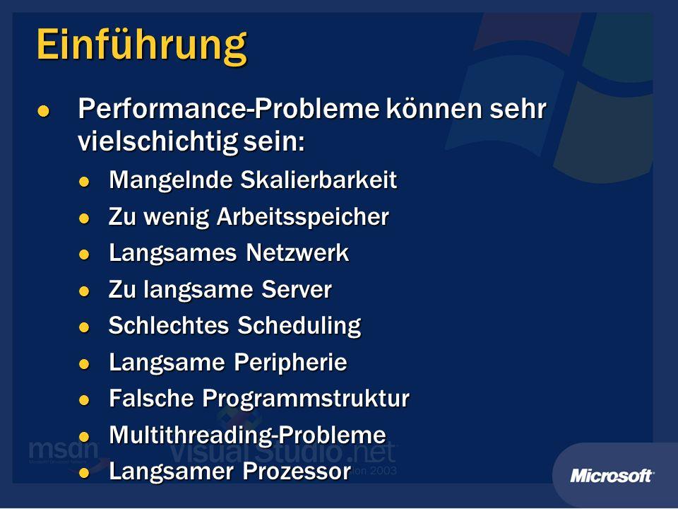 Einführung Performance-Probleme können sehr vielschichtig sein: