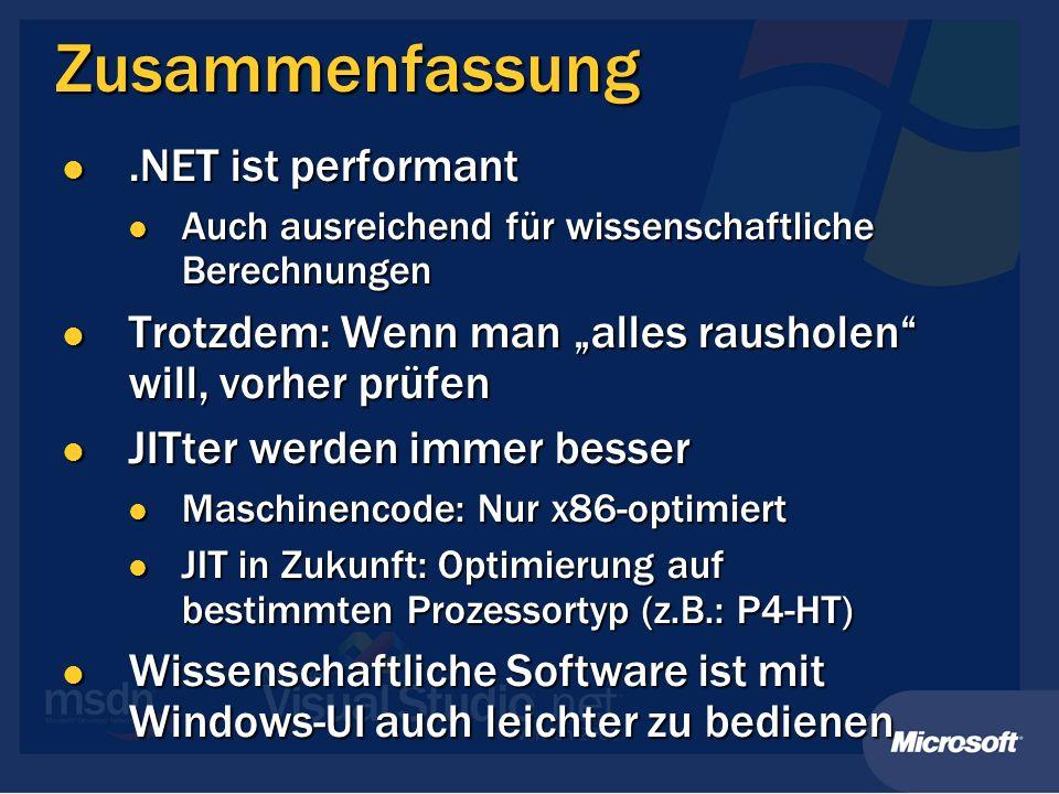 Zusammenfassung .NET ist performant