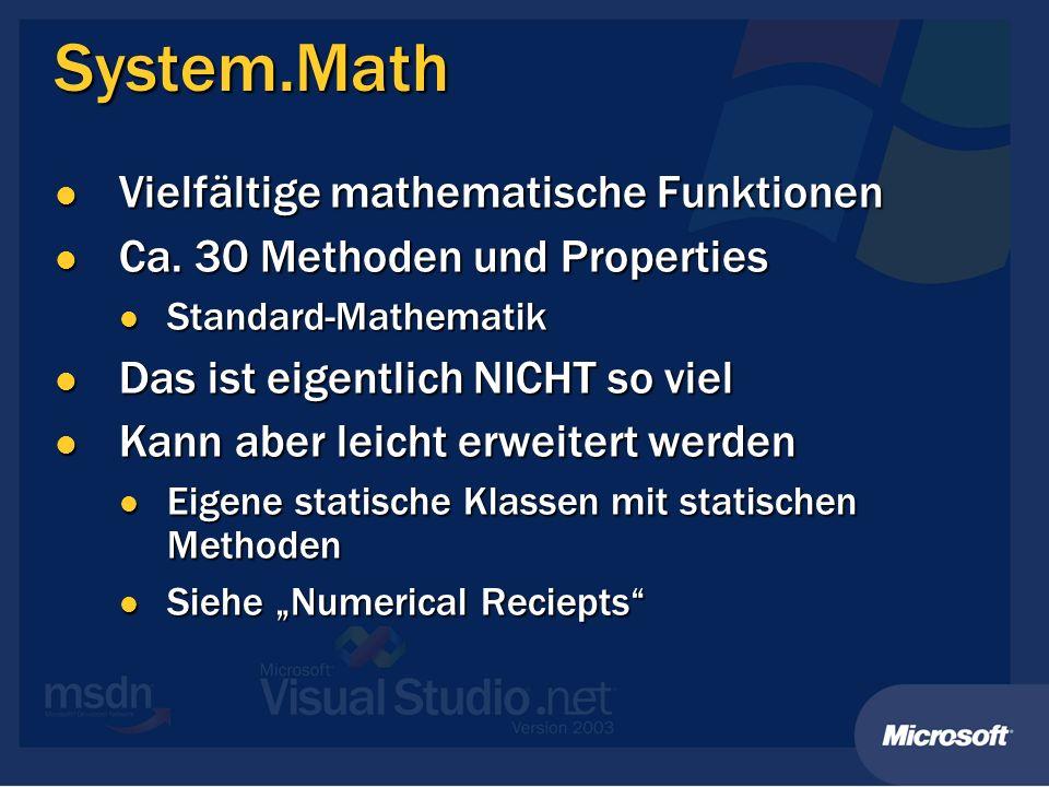 System.Math Vielfältige mathematische Funktionen