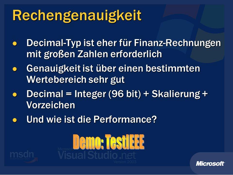 Rechengenauigkeit Demo: TestIEEE