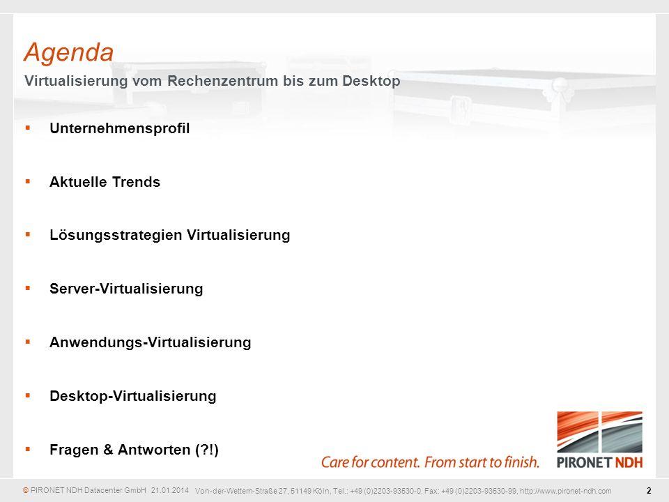 Agenda Virtualisierung vom Rechenzentrum bis zum Desktop