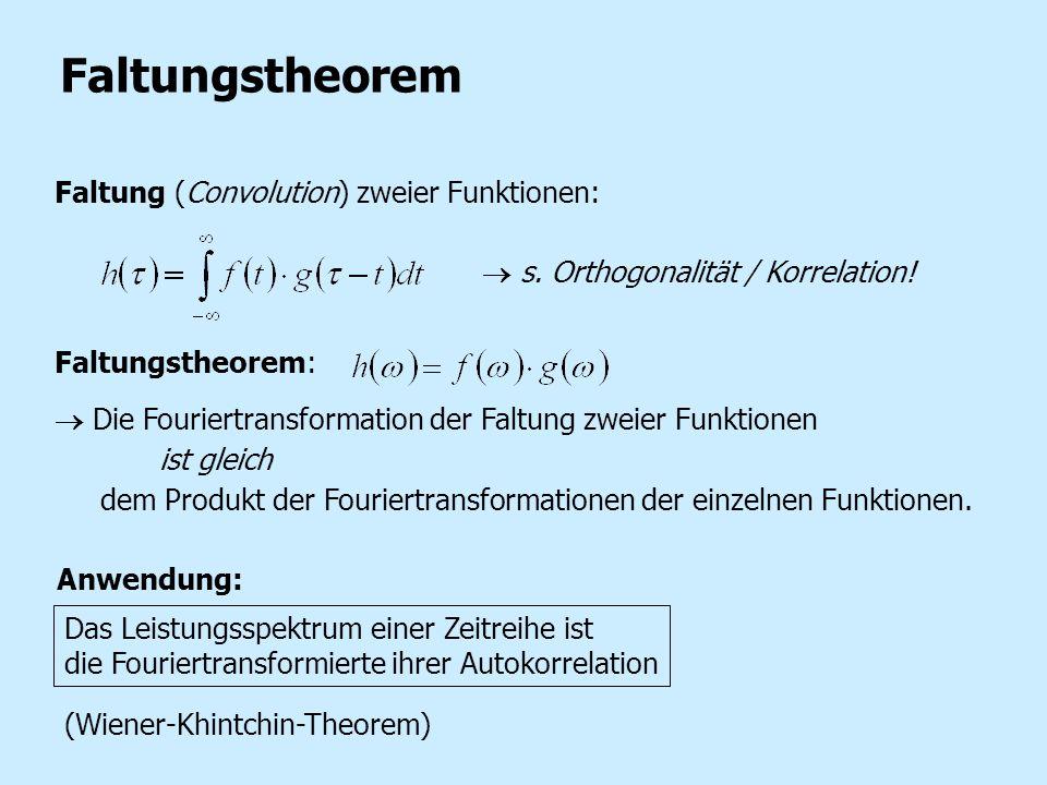 Faltungstheorem Faltung (Convolution) zweier Funktionen: