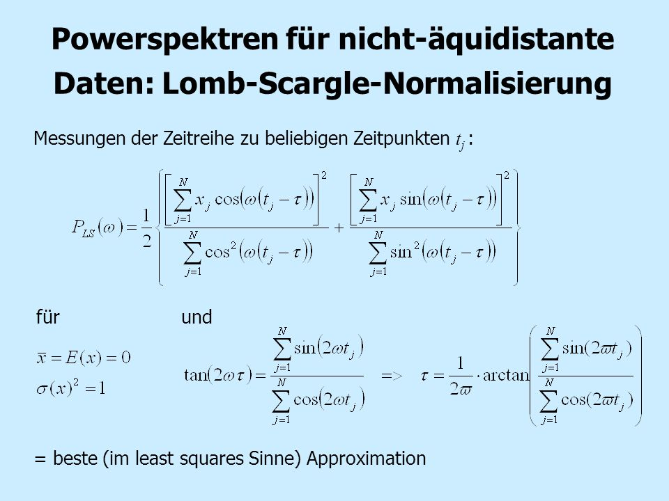 Powerspektren für nicht-äquidistante Daten: Lomb-Scargle-Normalisierung