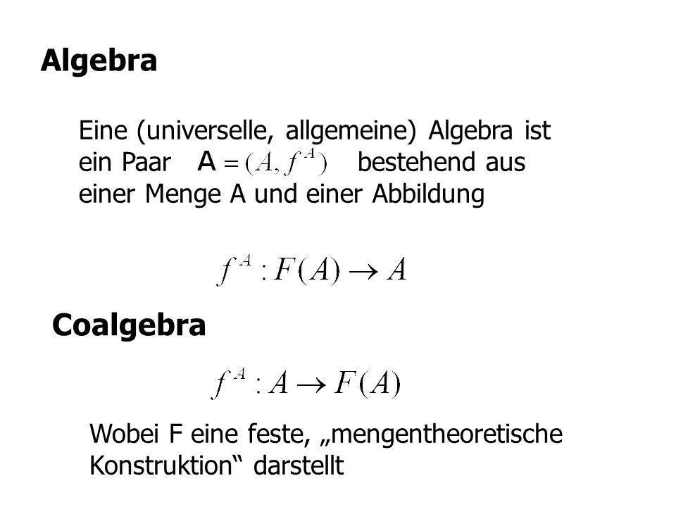 Algebra Eine (universelle, allgemeine) Algebra ist ein Paar bestehend aus einer Menge A und einer Abbildung.
