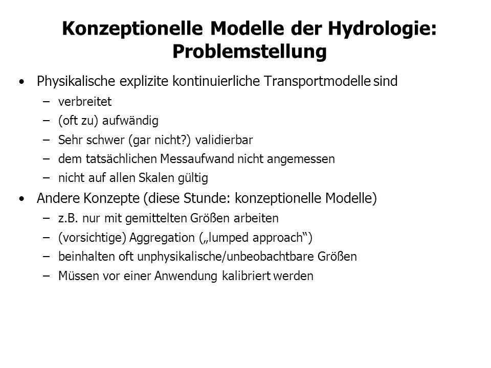 Konzeptionelle Modelle der Hydrologie: Problemstellung