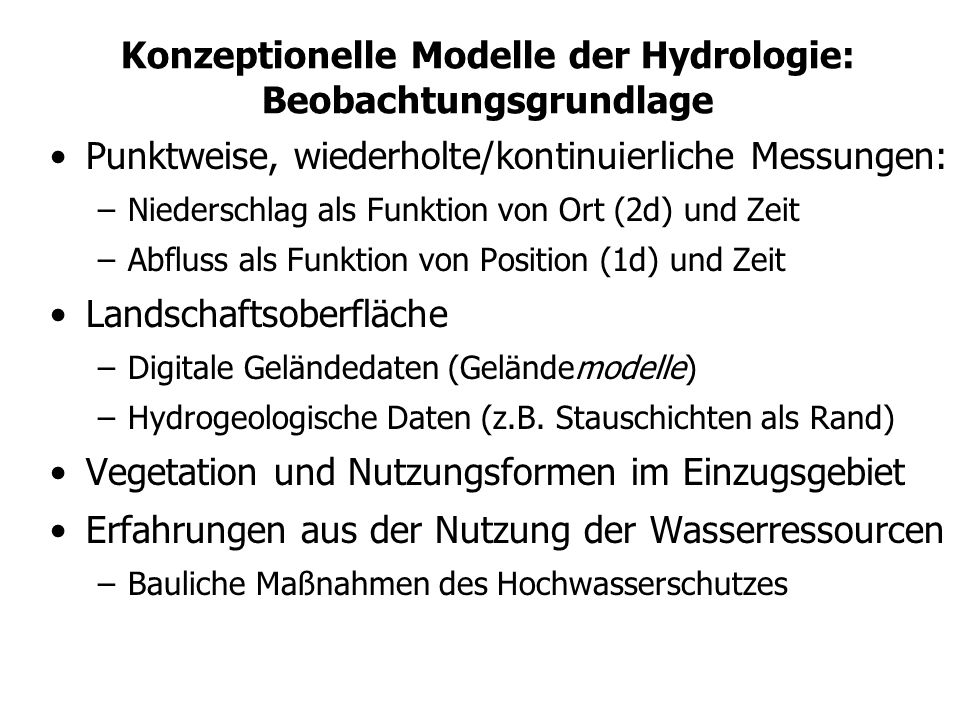 Konzeptionelle Modelle der Hydrologie: Beobachtungsgrundlage